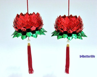 A Pair Of Red Color Medium Size Origami Hanging Lotus. (4D Glittering paper series). #FLT-57.