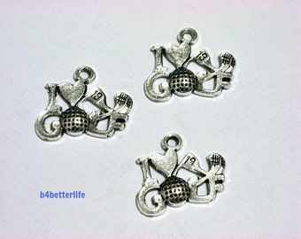 "Lot of 24pcs Antique Silver Tone ""I Love Golf"" Metal Charms. #BC4118."