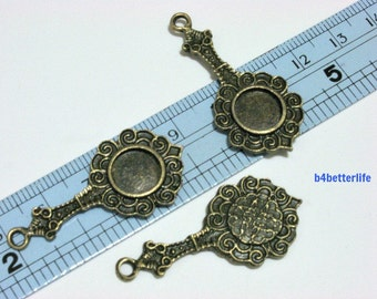 """Lot of 24pcs Double Sided Antique Bronze Tone """"Antique Mirror"""" Metal Charms. #BC2880."""