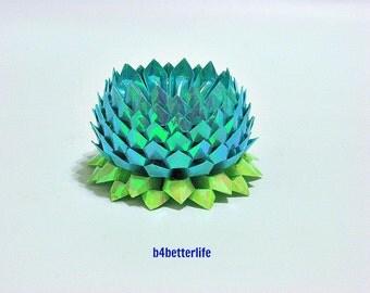 A Piece of Large Size Blue Color Origami Lotus. 132 Petals. (AV paper series). #FLT-61.