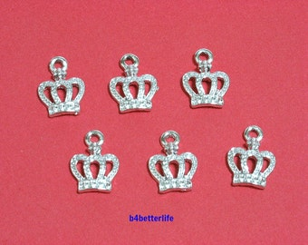 "Lot of 24pcs ""Crown"" Silver Color Plated Metal Charms. #XX143s."