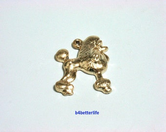 "Lot of 24pcs ""Poodle"" Gold Color Plated Metal Charms. #XX102."