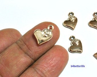 """Lot of 24pcs """"Heart Flower Love"""" Gold Color Plated Metal Charms. #SW2720."""