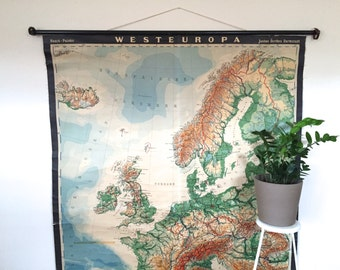 XXL Map Western Europe- Vintage Pull-Down Chart -German Educational Classroom Poster