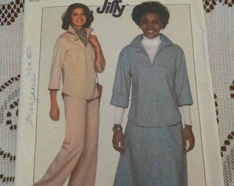 Uncut vintage simplicity 8169 jiffy sewing pattern pullover top pants and skirt size 10