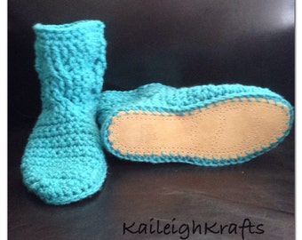 Leather Sole Crochet Cable Slipper Boots, Sock Slippers, Ugg Like Boots (made to order- any colour/size)