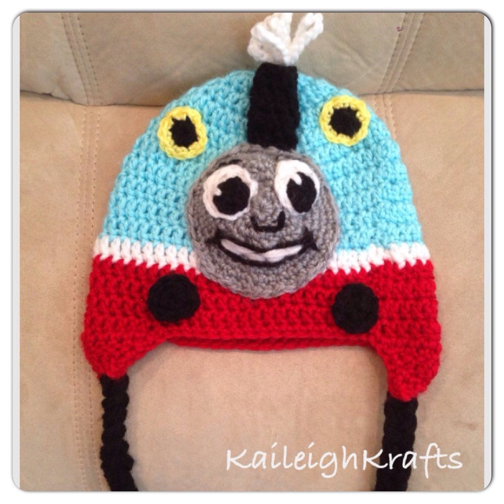 Free Crochet Hat Pattern For Thomas The Train : Thomas the Tank Engine Train Crochet Hat/ Ear flaps/ Photo