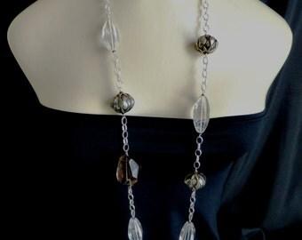 Long giant smokey quartz and crystal quartz necklace