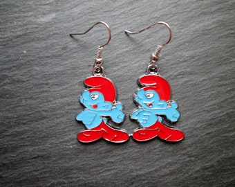 Enameled Smurf Charms Dangle Earrings