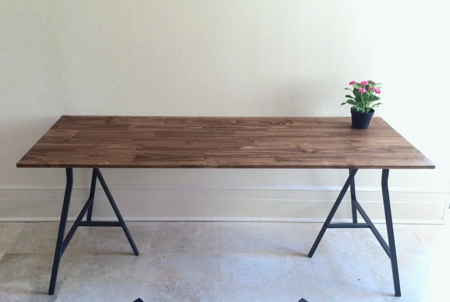 Narrow long dining table wood dining table rustic by goldenrulenyc - Long skinny dining table ...