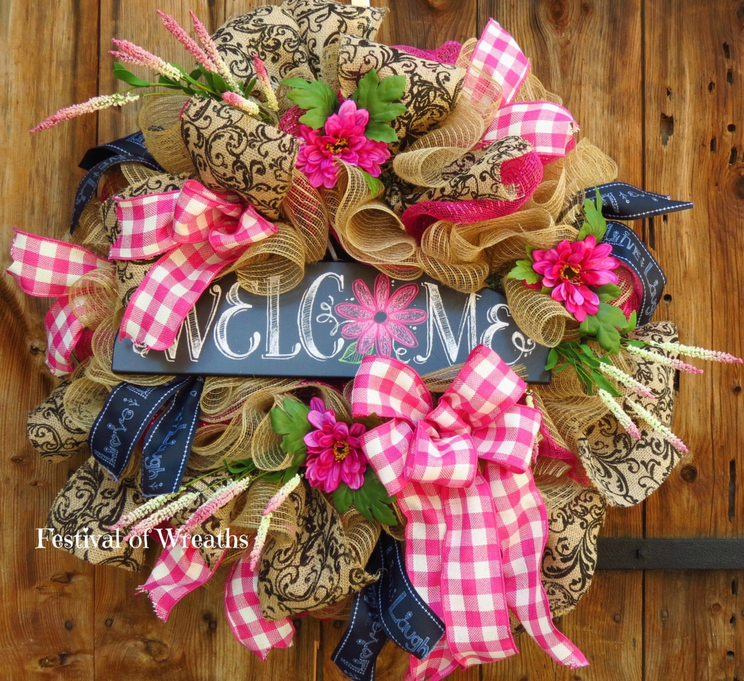 Spring Wreath Summer Wreath Welcome Wreath Deco Mesh