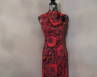 60's Oriental Style Long Dress