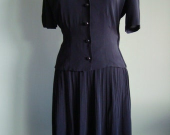 1940s Black Crepe Day Vintage Dress