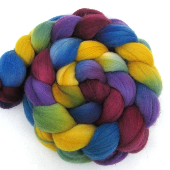 Hand Dyed Merino Wool Roving Combed Top Mine By