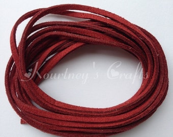 Maroon Faux Suede Leather Cord Size 3mm 5yards/bundle