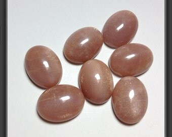 Gold Sand Moon Stone cabochon 12 x 16mm
