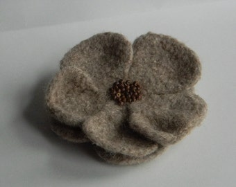 Rustic Flower Pin with wooden bead center in taupe colored wool, wool felted crocheted handmade for coat, hat, or tote--4 3/4  in.