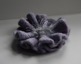 Lavender Poppy Pin soft lavender and silver handknit wool felted handmade brooch--for coat, hat, or tote--4  1/2 in.