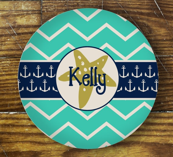 Personalized Dinner Plate or Bowl-Starfish