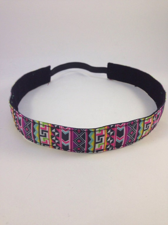 Multi-colored Aztec pattern non-slip headband for everyday and active wear