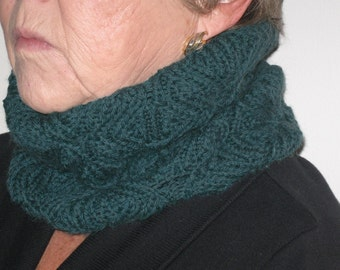 Butterfly cowl neck warmer. Teal. 100% merino wool. Hand made.