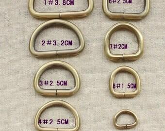 16 PCS, Various Size Brass Metal D-ring for Bag Purse