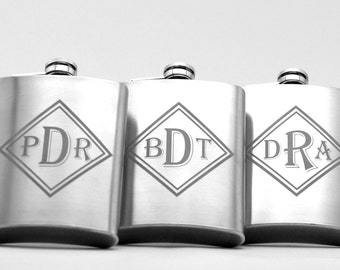 Monogram engraved stainless steel flasks with double diamond art (set of 3) groomsman gift,best man gift,groomsmen gift,groom gift,wedding