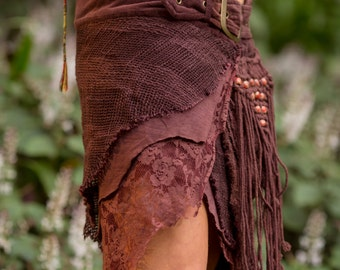 Jungle Skirt with Pockets (Brown) - Gypsy Festival Goa Festival Fairy Hippie Boho Vintage Wrap Skirt with Belt and Pockets