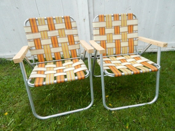 Folding Aluminum Lawn Chair Set 1960s by GlitteringDragonfly
