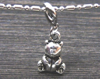 Dangle Silver Sitting Teddy Bear for Bracelets, Floating Charm Pendants, Necklaces & Keychains  D031