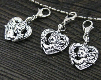 1 pc. Beautifully Detailed 3D Double Sided Silver Cherub in Heart Dangle for Bracelets, Floating Charm Pendants, Necklaces & Keychains  D031