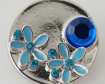 KB8034 Silver Disc With Offset Turquoise Flowers and One Large Deep Blue Stone