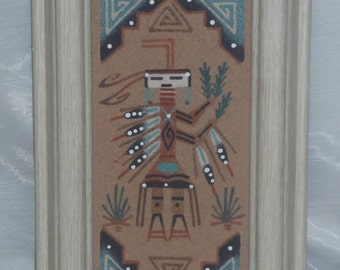 Southwestern Navajo Framed Sandpainting Native American Indian