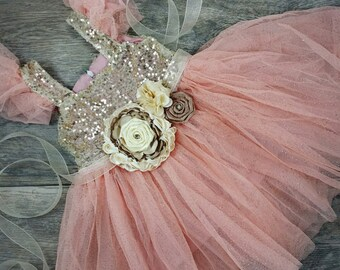 Girls Dresses // Tulle Dress // Toddler Dress // Country Flower Girl Dress // Little Girls Dress With Sequins