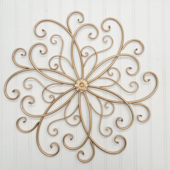 Wrought Iron Wall Decor Flowers : Wall decor colors gold metal sslid wrought