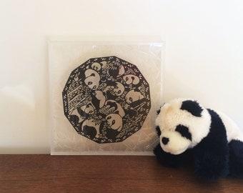 Wall Decoration, Panda loves bamboo, 100% Handmade paper cutting, creative framed paper cutting