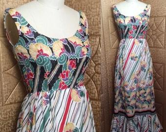 Vintage 70s VICTOR COSTA Red Green Black Stripe Art Nouveau Pattern Cotton Sun Dress & Shawl XS