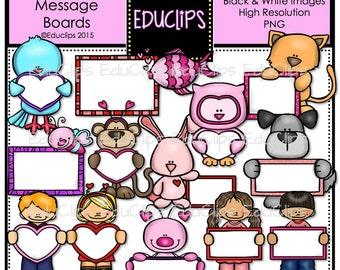 Valentine Message Boards Clip Art Bundle