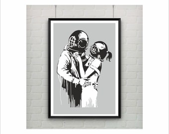 Love Deep by Banksy Print / Graffiti Art / US Letter-A4 up to A0 size / Street Art / Wall Art / Contemporary Decor / Provocative Humor / Hug