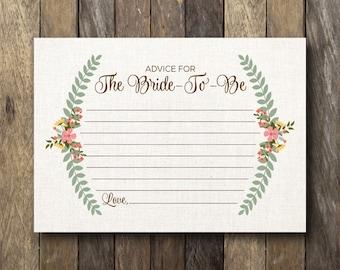 Printable Bridal Shower Advice Card - Advice for the Bride-to-be - Bridal Shower Advice Cards - Advice for the Bride - Printable Advice Card