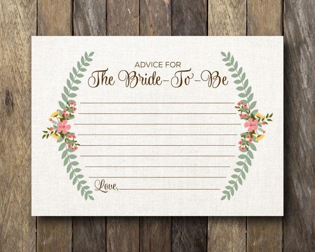 Printable Bridal Shower Advice Card Advice For The