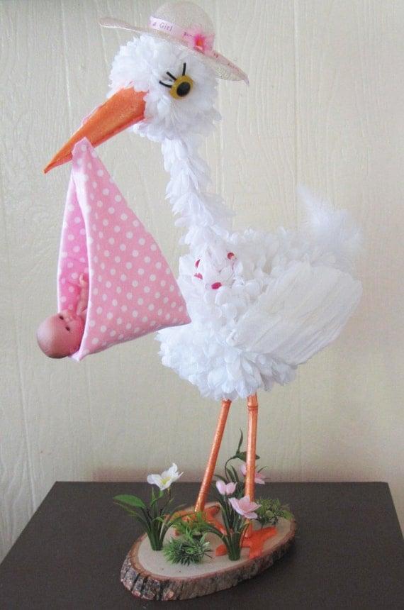Stork centerpiece baby girl stork centerpiece unique baby for Baby shower stork decoration