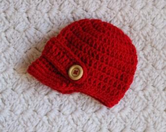 Valentines Crochet Newsboy Hat Boys or Girls Valentines Crochet Beanie Hat with  Wooden Buttons
