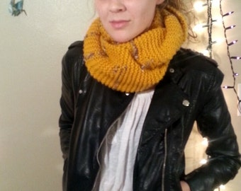 Mustard Yellow and speckled Infinity Scarf