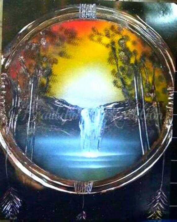 Sunset Waterfall Dream Catcher Spray Paint Art Gift Idea