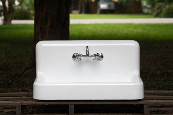 Refinished 36 Rare Cast Iron Farm Sink 1909 High Back By
