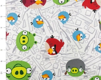 Angry Birds Fence White by Davids Textiles