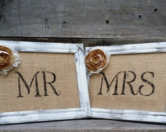 Mr. and Mrs. Burlap Wedding Signs With Distressed Wooden Frames, Rustic Wedding Decor, Rustic Wedding Photo Prop, Shabby Chic Wedding