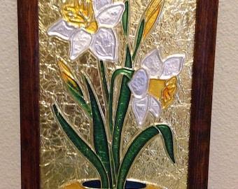 Vintage 1970's Foil Art Lilies