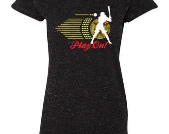 "Rhinestone ""Play On"" Softball Ladies Sparkle Glitter Tee Shirt"